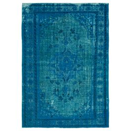 Handwoven Turkish Turquoise Contemporary Overdyed Rug