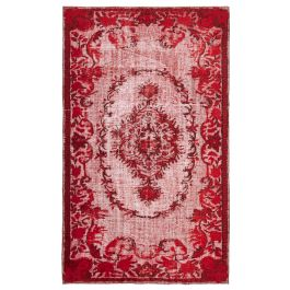 Hand-knotted Anatolian Red Rustic Overdyed Rug