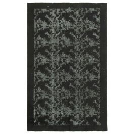 Handwoven Anatolian Black Distressed Carved Carpet
