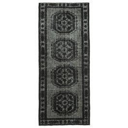Hand-knotted Turkish Black Low Pile Carved Carpet