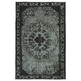 Handwoven Oriental Black Faded Overdyed Carpet