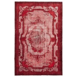 Handwoven Turkish Red Low Pile Overdyed Rug