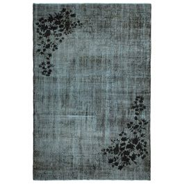 Hand-knotted Oriental Black Decorative Overdyed Carpet
