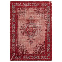 Handwoven Turkish Red Unique Carved Rug
