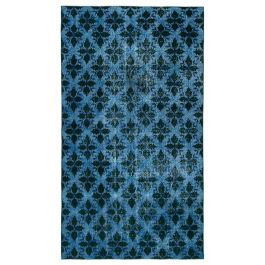 Hand-knotted Turkish Blue Unique Overdyed Rug