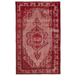 Handwoven Turkish Red Contemporary Overdyed Rug