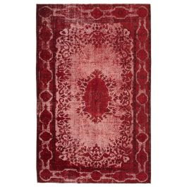 Handwoven Anatolian Red Rustic Overdyed Rug