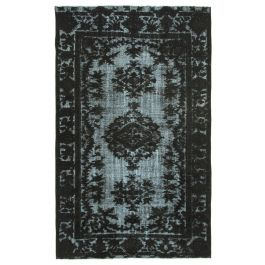 Hand-knotted Anatolian Black Rustic Overdyed Carpet