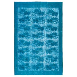 Handmade Oriental Turquoise Decorative Over-dyed Carpet