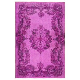 Hand-knotted Turkish Fuchsia Unique Overdyed Rug