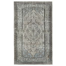 Hand-knotted Turkish Grey Bohemian Overdyed Carpet