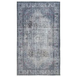 Hand-knotted Turkish Grey Low Pile Carved Carpet