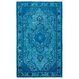 Handwoven Turkish Turquoise Low Pile Overdyed Rug