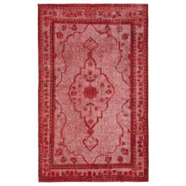 Hand-knotted Oriental Red Traditional Carved Carpet