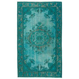 Handwoven Anatolian Turquoise Distressed Carved Carpet