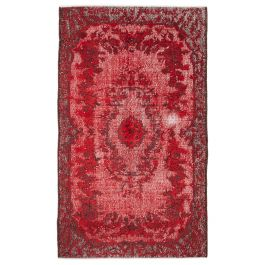 Handwoven Anatolian Red Wool Carved Rug