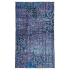 Hand-knotted Turkish Purple Low Pile Carved Carpet