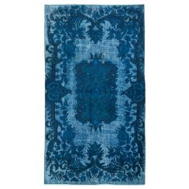 Hand-knotted Anatolian Turquoise Wool Carved Rug