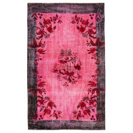 Handmade Turkish Pink Contemporary Over-dyed Carpet