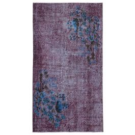 Hand-knotted Oriental Purple Traditional Carved Carpet