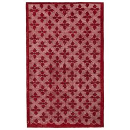 Handwoven Anatolian Red Antique Carved Carpet