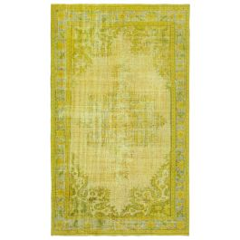 Handwoven Anatolian Yellow Distressed Carved Rug