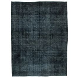 Handwoven Anatolian Black Distressed Large Colorful Rug