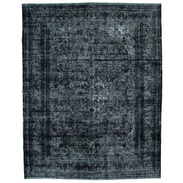Handwoven Turkish Black Contemporary Large Overdyed Rug