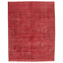 Handmade Oriental Red One-of-a-Kind Large Over-dyed Rug