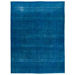 Hand-knotted Turkish Blue Contemporary Large Overdyed Rug