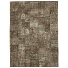 Handwoven Anatolian Brown Distressed Large Patchwork Rug