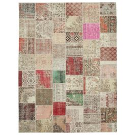 Handwoven Turkish Beige Over-dyed Large Patchwork Rug