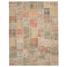 Hand-knotted Turkish Multi Overdyed Large Patchwork Carpet