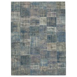 Hand-knotted Oriental Blue Wool Large Patchwork Carpet