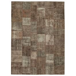 Handmade Oriental Brown One-of-a-Kind Large Patchwork Rug