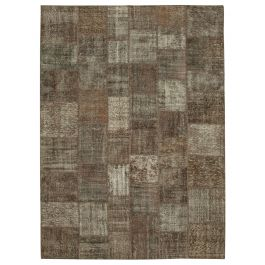 Hand-knotted Oriental Brown Wool Large Patchwork Carpet
