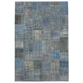 Hand-knotted Turkish Blue Colorful Large Patchwork Carpet