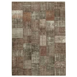 Handwoven Oriental Brown Colorful Large Patchwork Carpet