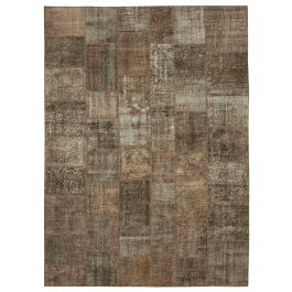 Hand-knotted Anatolian Brown Wool Large Patchwork Rug