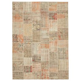 Hand-knotted Oriental Multi Wool Large Patchwork Carpet