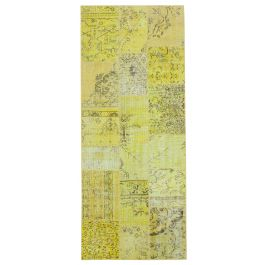 Handmade Oriental Yellow One-of-a-Kind Patchwork Runner Rug