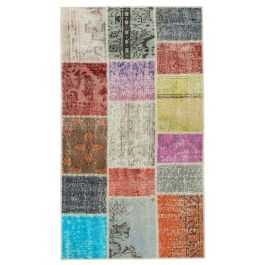 Handwoven Turkish Multi Over-dyed Patchwork Runner Rug