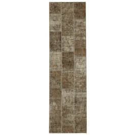 Hand-knotted Turkish Brown Unique Patchwork Runner Rug