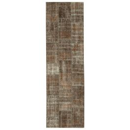 Hand-knotted Anatolian Brown Wool Patchwork Runner Rug