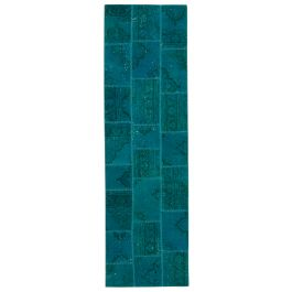 Hand-knotted Oriental Turquoise Large Patchwork Runner Carpet