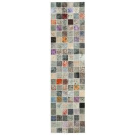 Hand-knotted Anatolian Multi Antique Patchwork Runner Rug