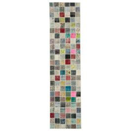Hand-knotted Oriental Multi Faded Patchwork Runner Carpet