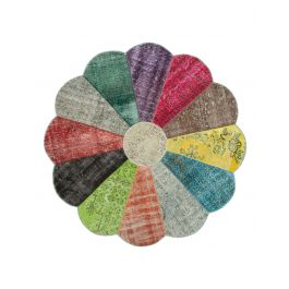Hand-knotted Oriental Multi Wool Round Patchwork Carpet