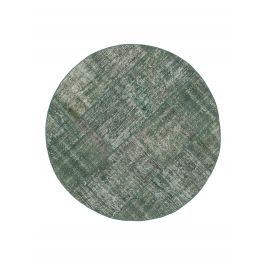 Handwoven Turkish Green Over-dyed Round Patchwork Rug