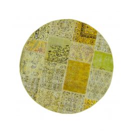 Hand-knotted Turkish Yellow Low Pile Round Patchwork Carpet
